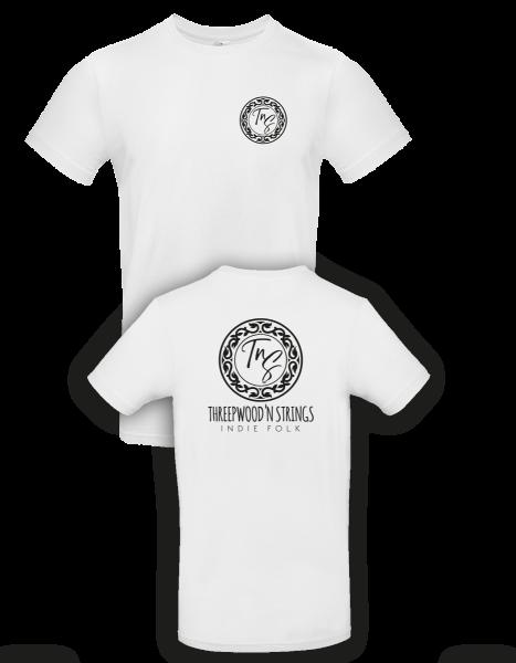 """Weißes T-Shirt """"Threepwood 'N Strings"""" FAIRTRADE"""